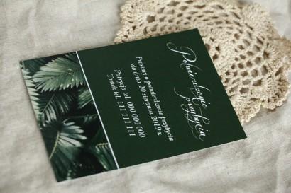 Bilecik do botanicznych zaproszeń ślubnych. Grafika z liśćmi bananowca