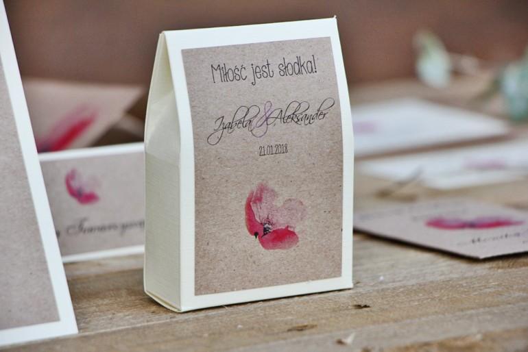 Pudełeczko stojące na cukierki, podziękowania dla Gości weselnych - Margaret nr 5 - Różowy mak