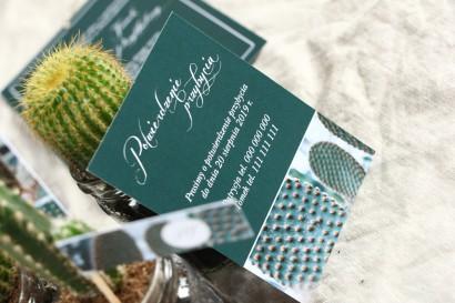 Bilecik do botanicznych zaproszeń ślubnych. Grafika z kaktusem