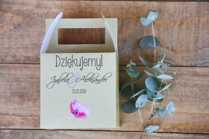 Pudełko na ciasto kwadratowe, tort weselny - Margaret nr 5 - Różowy mak