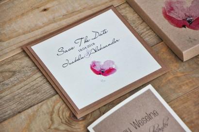 Bilecik Save The Date dwuwarstwowy do zaproszenia ślubnego Margaret nr 5 - Różowy polny mak