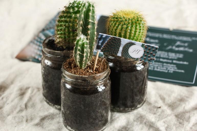 Podziękowania dla gości w formie kaktusa w szklanym słoiczku. Piker z grafiką z kaktusem