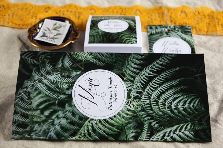 Menu weselne na stół - Botaniczny styl z grafiką z liśćmi paproci