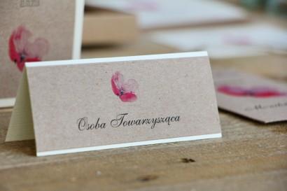 Winietki na stół weselny, ślub -  Margaret nr 5 - Ekologiczne - Różowy polny mak