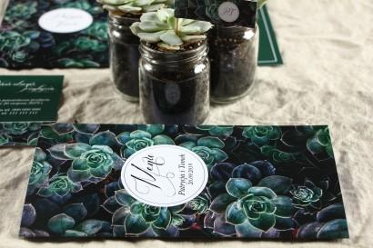 Menu weselne na stół - Botaniczny styl z grafiką z eukaliptusami