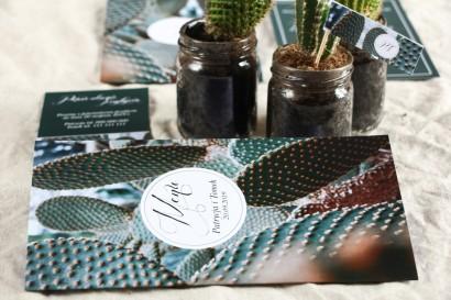 Menu weselne na stół - Botaniczny styl z grafiką z kaktusem