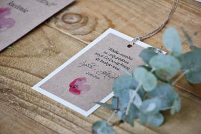 Zawieszka na butelkę, wódka weselna, ślub - Margaret nr 5 - Różowy polny mak