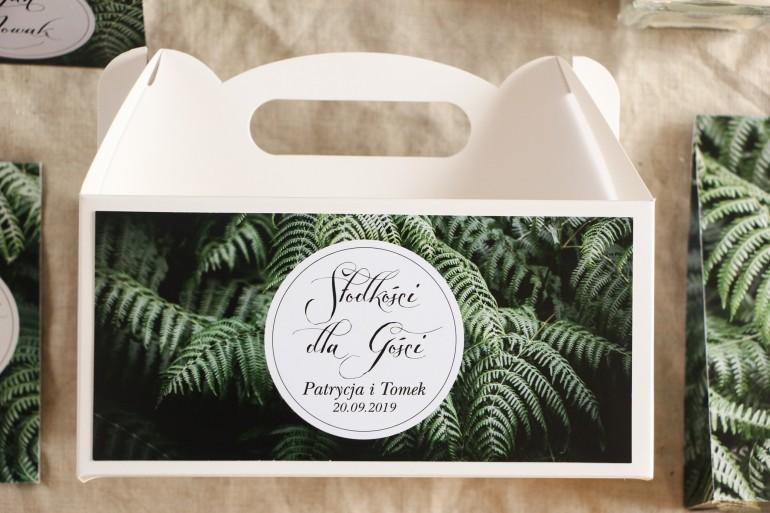 Podziękowanie dla gości weselnych, prostokątne pudełka na ciasto w stylu Botanicznym - Grafika z liśćmi paproci