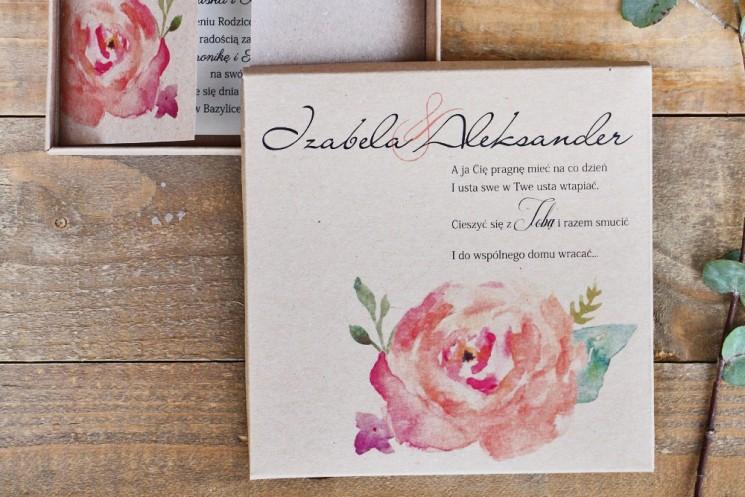 Efektowne zaproszenie ślubne w pudełku - Ekologiczne Margaret nr 6 - Brzoskwiniowa róża