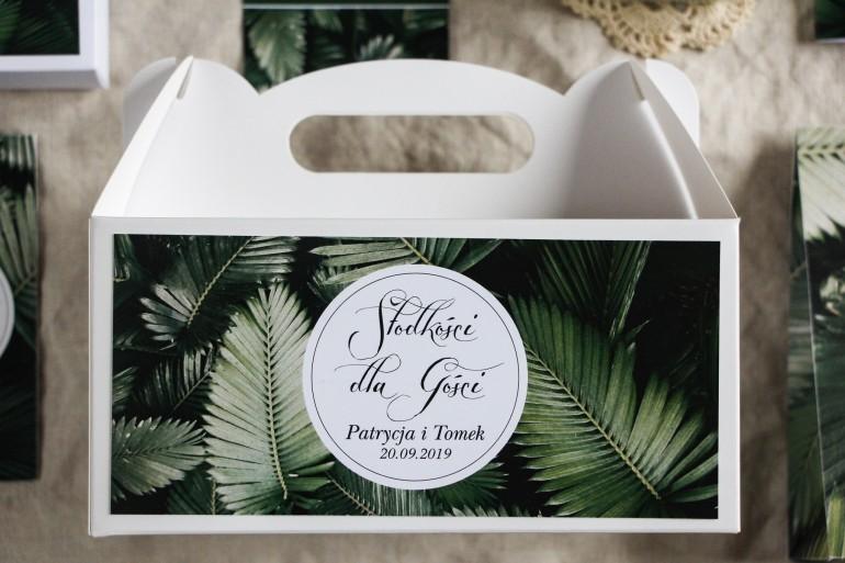 Podziękowanie dla gości weselnych, prostokątne pudełka na ciasto w stylu Botanicznym - Grafika z liśćmi bananowca