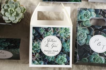Podziękowanie dla gości weselnych, kwadratowe pudełka na ciasto w stylu Botanicznym - Grafika z eukaliptusami