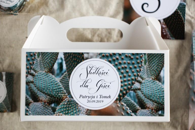 Podziękowanie dla gości weselnych, prostokątne pudełka na ciasto w stylu Botanicznym - Grafika z kaktusem