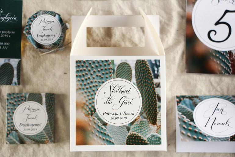 Podziękowanie dla gości weselnych, kwadratowe pudełka na ciasto w stylu Botanicznym - Grafika z kaktusem