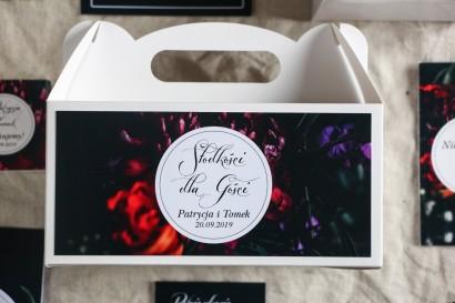 Podziękowanie dla gości weselnych, prostokątne pudełka na ciasto w stylu Kwiatowym