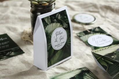 Podziękowania dla gości weselnych, pudełeczka na słodkości - Grafika z liśćmi bananowca