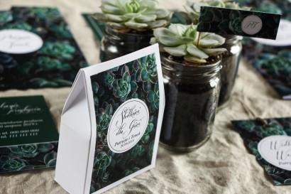 Podziękowania dla gości weselnych, pudełeczka na słodkości - Grafika z eukaliptusami