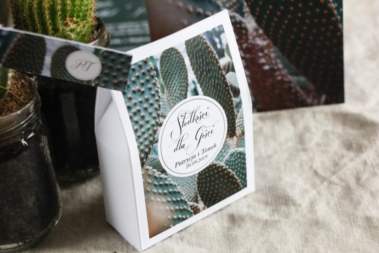 Podziękowania dla gości weselnych, pudełeczka na słodkości - Grafika z kaktusem