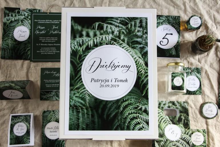 Ślubne pudełko na koperty - Botaniczny wzór z liśćmi paproci