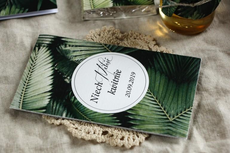 Podziękowania ślubne, nasionka na gości weselnych w stylu botanicznym. Grafika z liśćmi bananowca