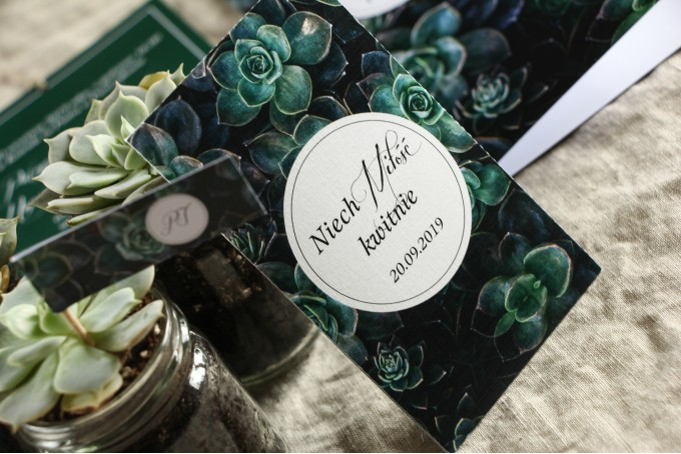 Podziękowania ślubne, nasionka na gości weselnych w stylu botanicznym. Grafika z eukaliptusami