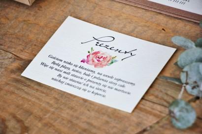 Bilecik do zaproszenia 105 x 74 mm prezenty ślubne wesele - Margaret nr 6 - Ekologiczne - Brzoskwiniowa róża
