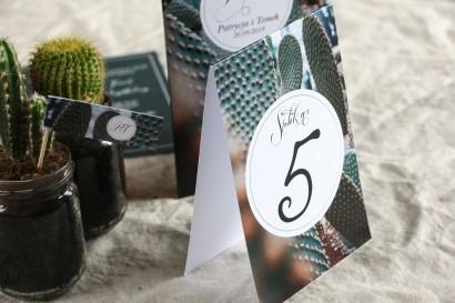 Numery stolików weselnych w botanicznym stylu. Grafika z kaktusem