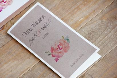 Menu weselne, stół weselny - Margaret nr 6 - Ekologiczne - Brzoskwiniowa róża