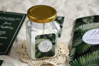 Świeczki - Botaniczne podziękowania dla gości weselnych. Piękna grafika z liśćmi bananowca.