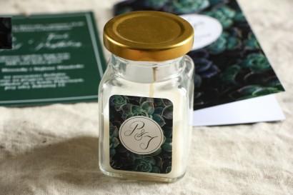 Świeczki - Botaniczne podziękowania dla gości weselnych. Piękna grafika z eukaliptusami.