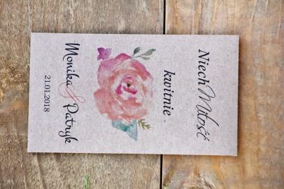 Podziękowania dla Gości weselnych - nasiona Niezapominajki - Margaret nr 6 - Brzoskwiniowa róża