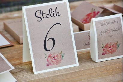 Numery stolików, stół weselny, ślub - Margaret nr 6 - Brzoskwiniowa róża