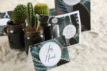 Botaniczne Winietki ślubne. Grafika z kaktusem