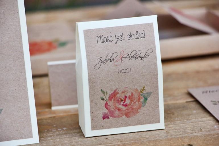 Pudełeczko stojące na cukierki, podziękowania dla Gości weselnych - Margaret nr 6 - Brzoskwiniowa róża