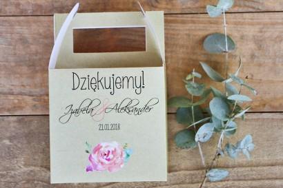 Pudełko na ciasto kwadratowe, tort weselny - Margaret nr 6 - Brzoskwiniowa róża
