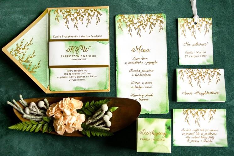 Złote Zaproszenia Ślubne, zielone z owijką z papieru złotego lustrzanego - zestaw próbny