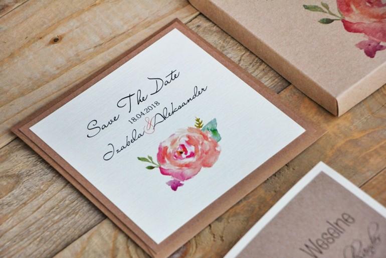 Bilecik Save The Date dwuwarstwowy do zaproszenia ślubnego Margaret nr 6 - Róża w odcieniu brzoskwiniowym