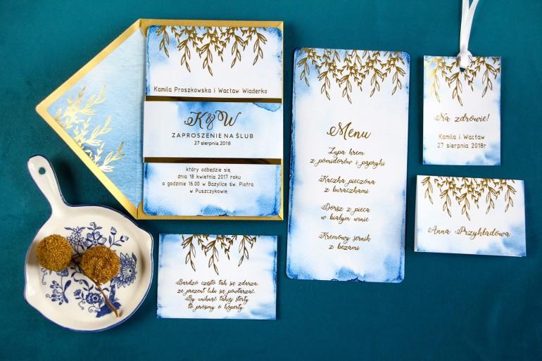Złote zaproszenia ślubne, kolor niebieski - zestaw próbny