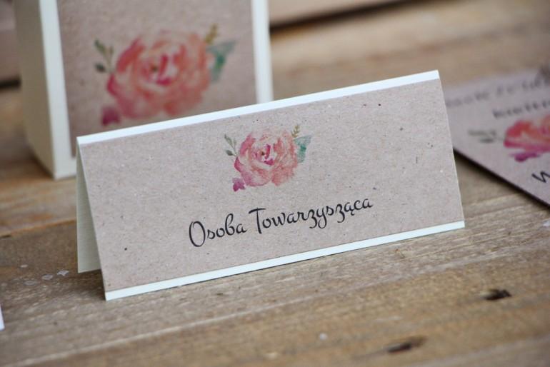 Winietki na stół weselny, ślub - Margaret nr 6 - Ekologiczne - Brzoskwiniowa róża