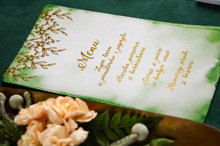 Zielone Menu ślubne z bogatym złoceniem. Dodatki na stół weselny.