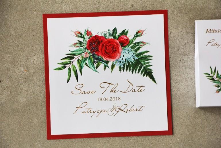 Bilecik dwuwarstwowy Save The Date - w kolorystyce intensywnej czerwieni ze złoceniem Cykade nr 2