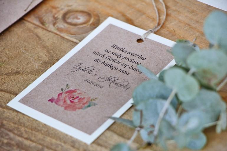Zawieszka na butelkę, wódka weselna, ślub - Margaret nr 6 - Brzoskwiniowa róża