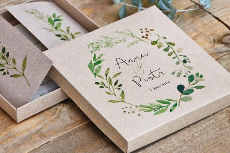 Efektowne zaproszenie ślubne w pudełku - Ekologiczne Margaret nr 7 - Zielona gałązki