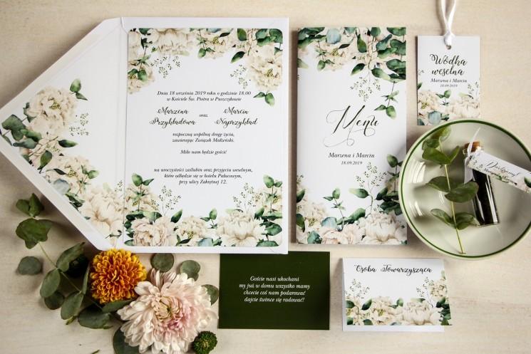 Zaproszenia ślubne w stylu greenery z białymi piwoniam - zestaw próbkowy