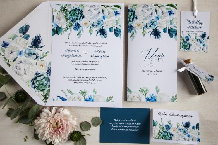 Niebieskie zaproszenia ślubne białymi różami - zestaw próbny