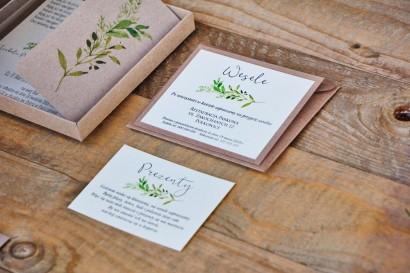 Bilecik dwuwarstwowy prezenty wesele - Margaret nr 7 - Ekologiczne - Intensywnie zielone gałązki