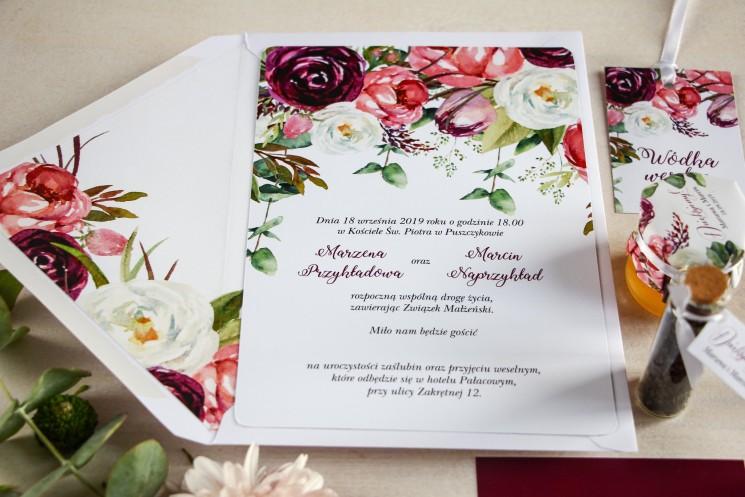 Zaproszenia ślubne z różowymi i purpurowymi piwoniami i tulipanami