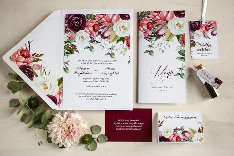 Zaproszenia ślubne z różowymi i purpurowymi piwoniami i tulipanami - zestaw próbny