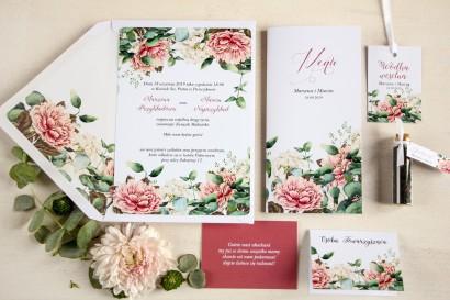 Zestaw próbny - Białe zaproszenia ślubne z dodatkiem różowych i białych piwonii