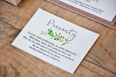 Bilecik do zaproszenia 105 x 74 mm prezenty ślubne wesele - Margaret nt 7 - Ekologiczne - Intensywnie zielone gałązki