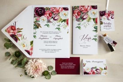 Zestaw próbny - Zaproszenia ślubne z różowymi i purpurowymi piwoniami